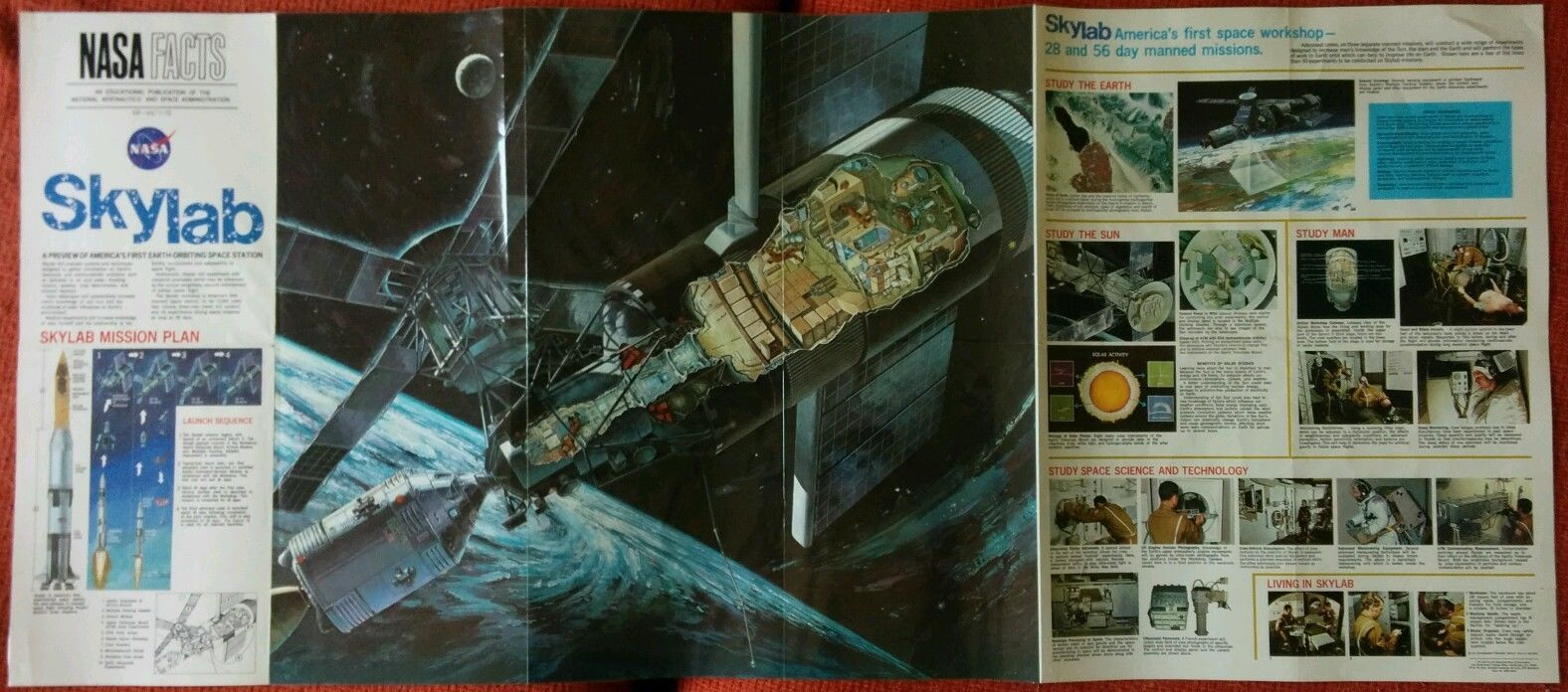 Skylab NASA Facts Poster Manned Flight Moon 1972