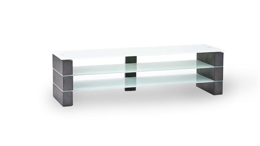 Tv Rack Olivias Tv Board Lowboard Beton Grau Und Glas Weiss