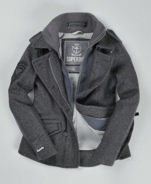 Fashion Classic Pea Coat Superdry Jackets, Superdry Classic Pea Coat Navy