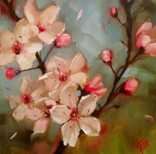 """Daily Paintworks - """"Cherry Blossoms"""" by Krista Eaton"""