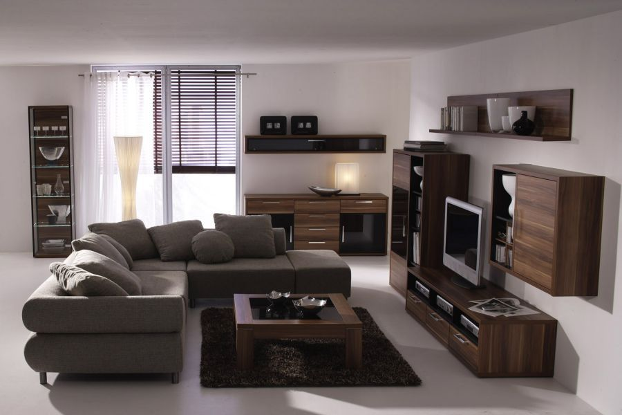 walnut furniture living room open dining layout gray sofa and stain with pops of blues