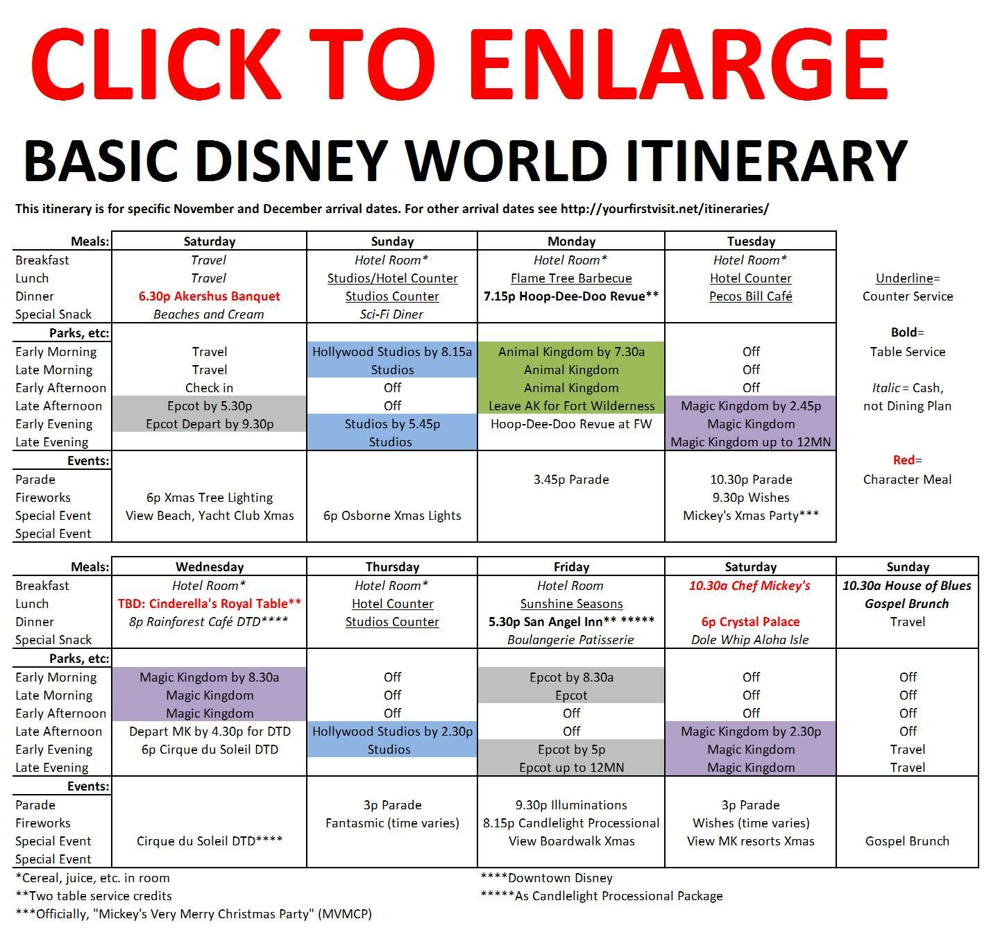 Basic 2018 December Disney World Itinerary | Travel with ...