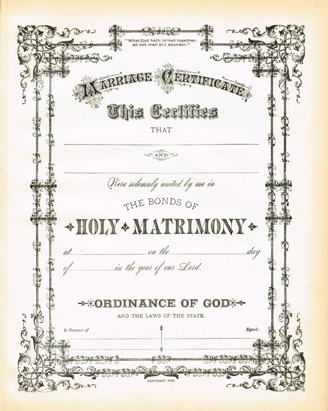 Antique certificate of marriage printable via knickoftime free printable antique certificate of marriage from the early 1900s from knick of time alramifo Image collections