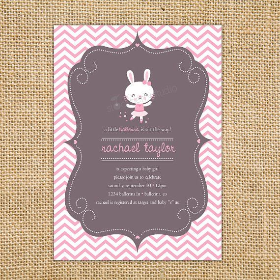Lovely Bunny Ballerina Baby Shower Invitation Printable   Girl Baby Shower Invites    Pink Chevron Baby Shower