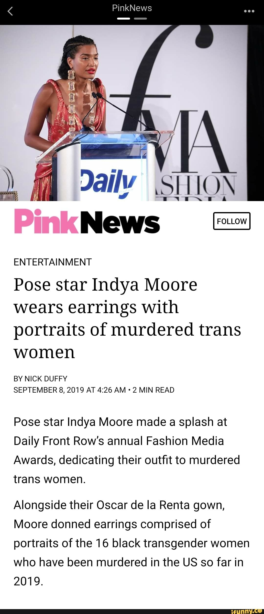 ENTERTAINMENT Pose star Indya Moore wears earrings With