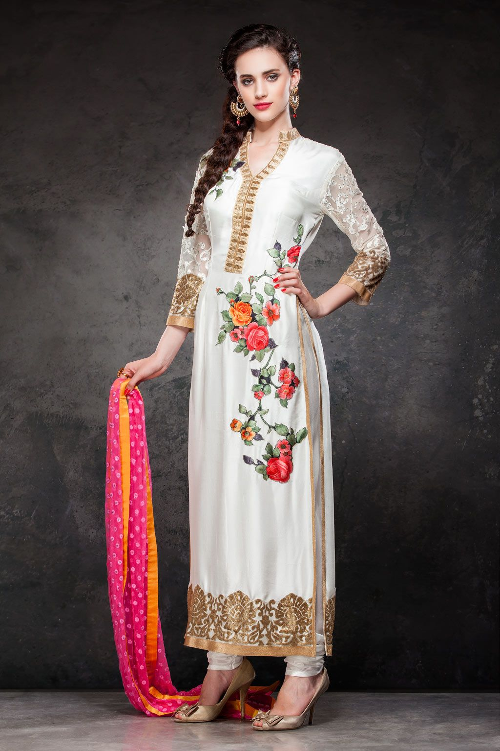 1385a23cee Buy Off White Raw Silk Pakistani Style Suit 63172 online at lowest price  from vast collection