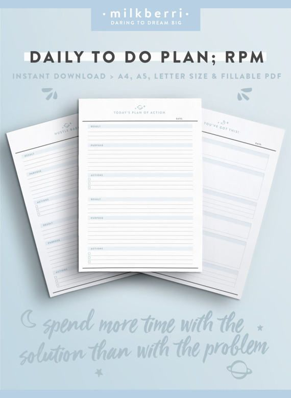 Daily Planner Sheet RPM Results Purpose Action Tony Social - day planner sheet