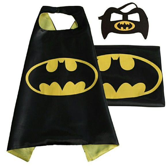 Superhero 2pc Mask and Cape set batman marvel DC Let you little one's imagination touch the sky with this perfect playtime cape. This is the perfect gift for party, cosplay or pretend play superhero cape + mask set that you will find for your children.  What's Included:?  1 Mask? 1 Cape (27 inches long)  Care  The Cape will need to be ironed on low with no steam to remove shipping wrinkles.  Best for ages 2 to 5 years old. Other