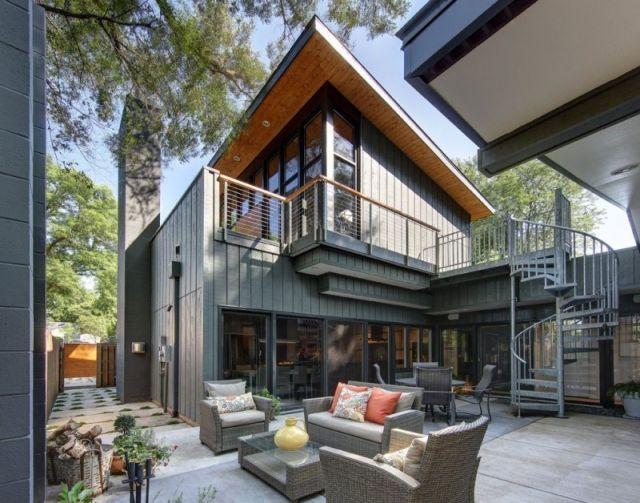 ideen outdoor-möbel rattan-Landhaus Flachdachhaus Architektur - ideen terrasse outdoor mobeln