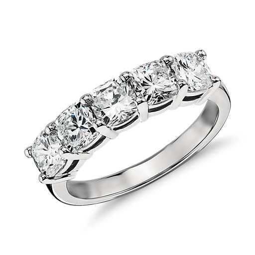 Classic Cushion Cut Five Stone Diamond Ring in Platinum (2 ct. tw.)