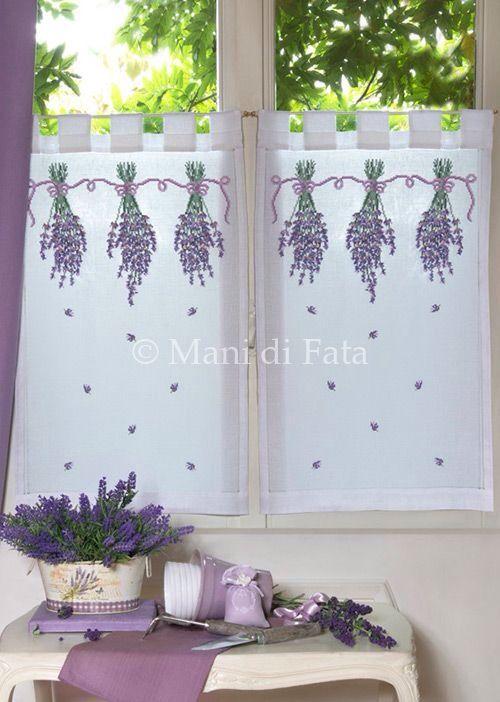 Tende ricamo punto croce lavanda  Punto croce ispirazioni  Pinterest  Lavender, Cross stitch ...