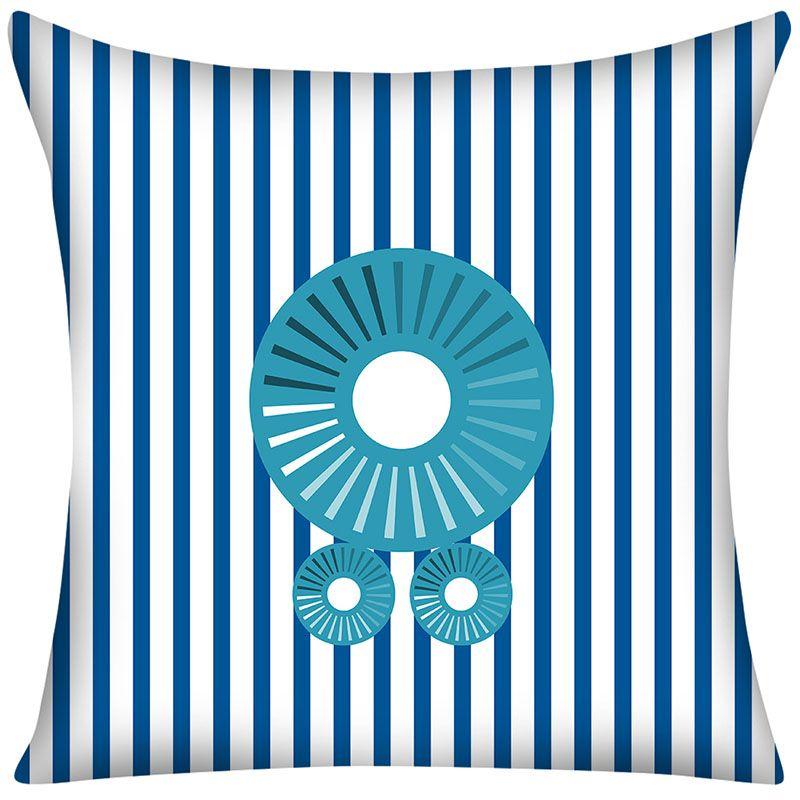 Decorative Pillow Case Blue Long Round Blue Wheels Cotton Linen Best Long Round Decorative Pillows