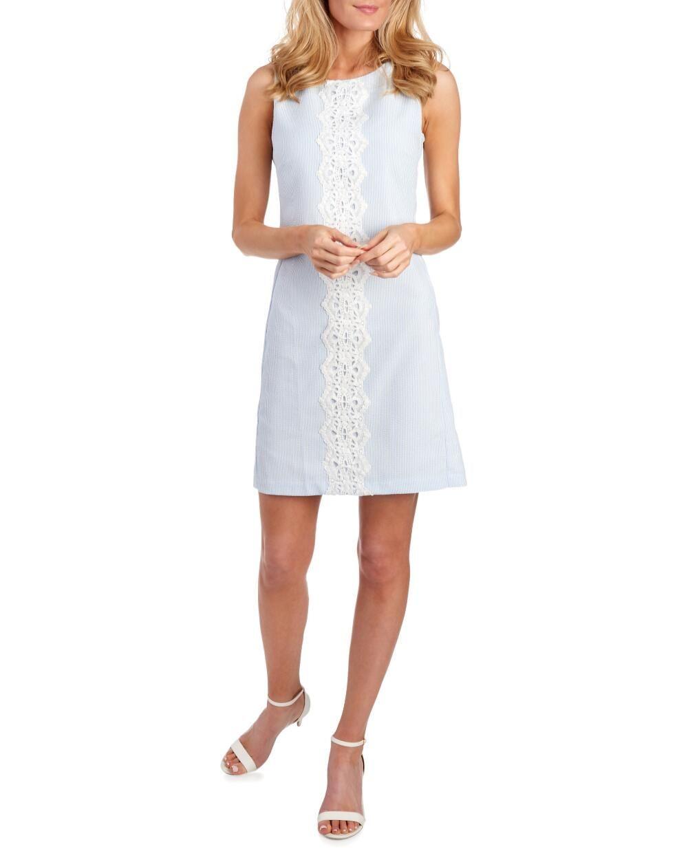 Pappagallo Striped Seersucker Crochet Trim Dress 10 Polyester In 2020 Crochet Trim Dress Dresses Sleeveless Shift Dress [ 1250 x 1000 Pixel ]