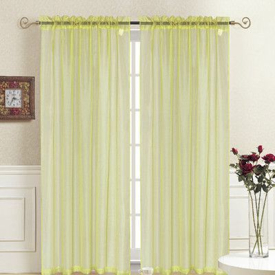 Kashi Home Rena Single Curtain Panel Color: Yellow