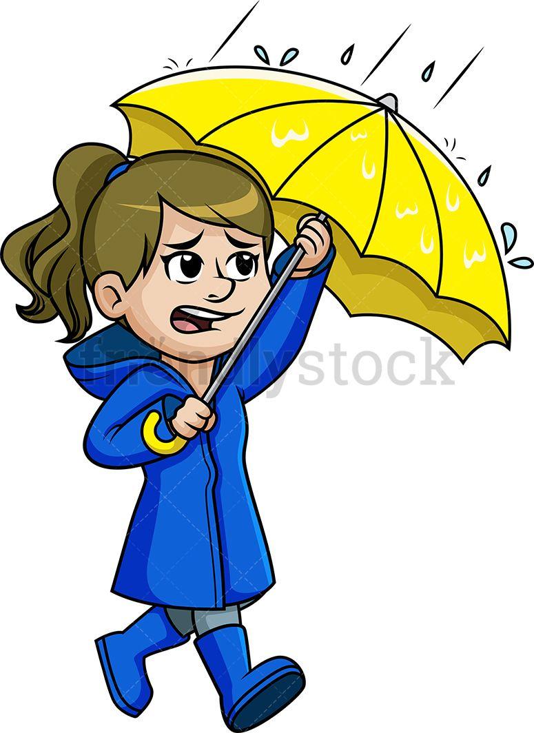 Woman Walking In The Rain Cartoon Clipart Vector Friendlystock Walking In The Rain Cartoon Clip Art Cartoon