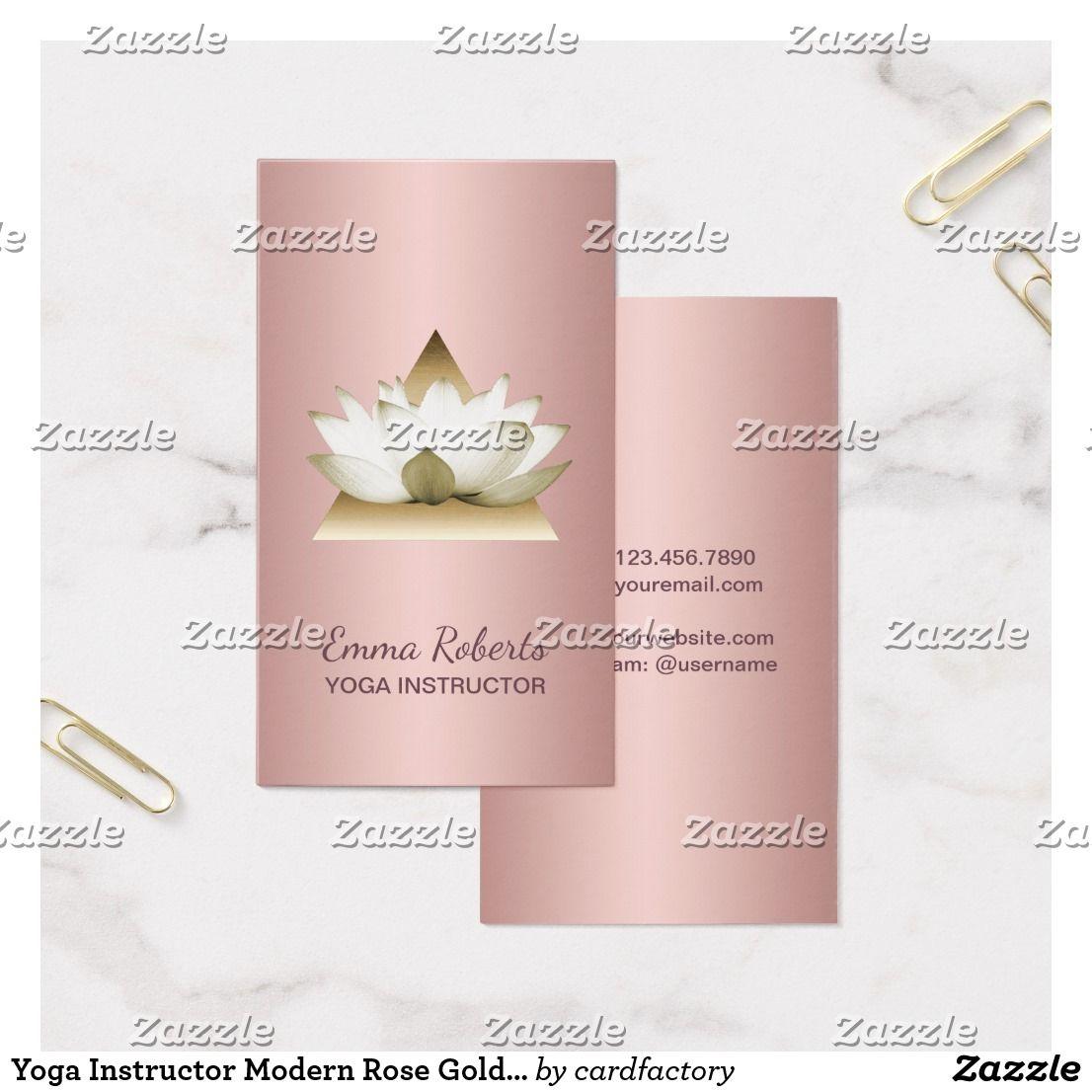 Yoga Instructor Modern Rose Gold Lotus Triangle Business Card | Yoga ...