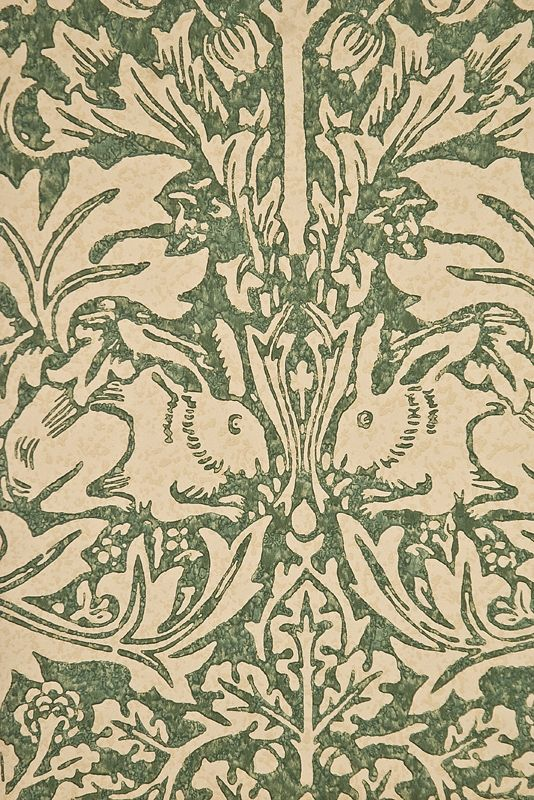 Brer Rabbit Wallpaper Classic William Morris Floral and Animal print, in Green and Cream
