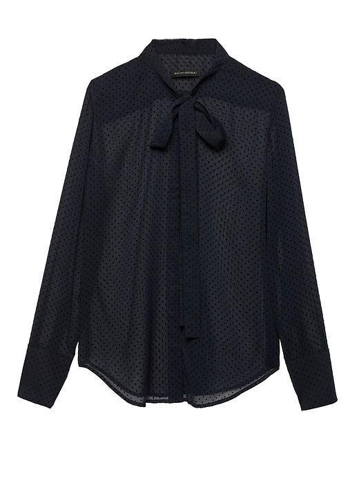 10c19b89 Banana Republic Womens Petite Dillon Classic-Fit Sheer Clip-Dot Tie-Neck  Shirt Navy