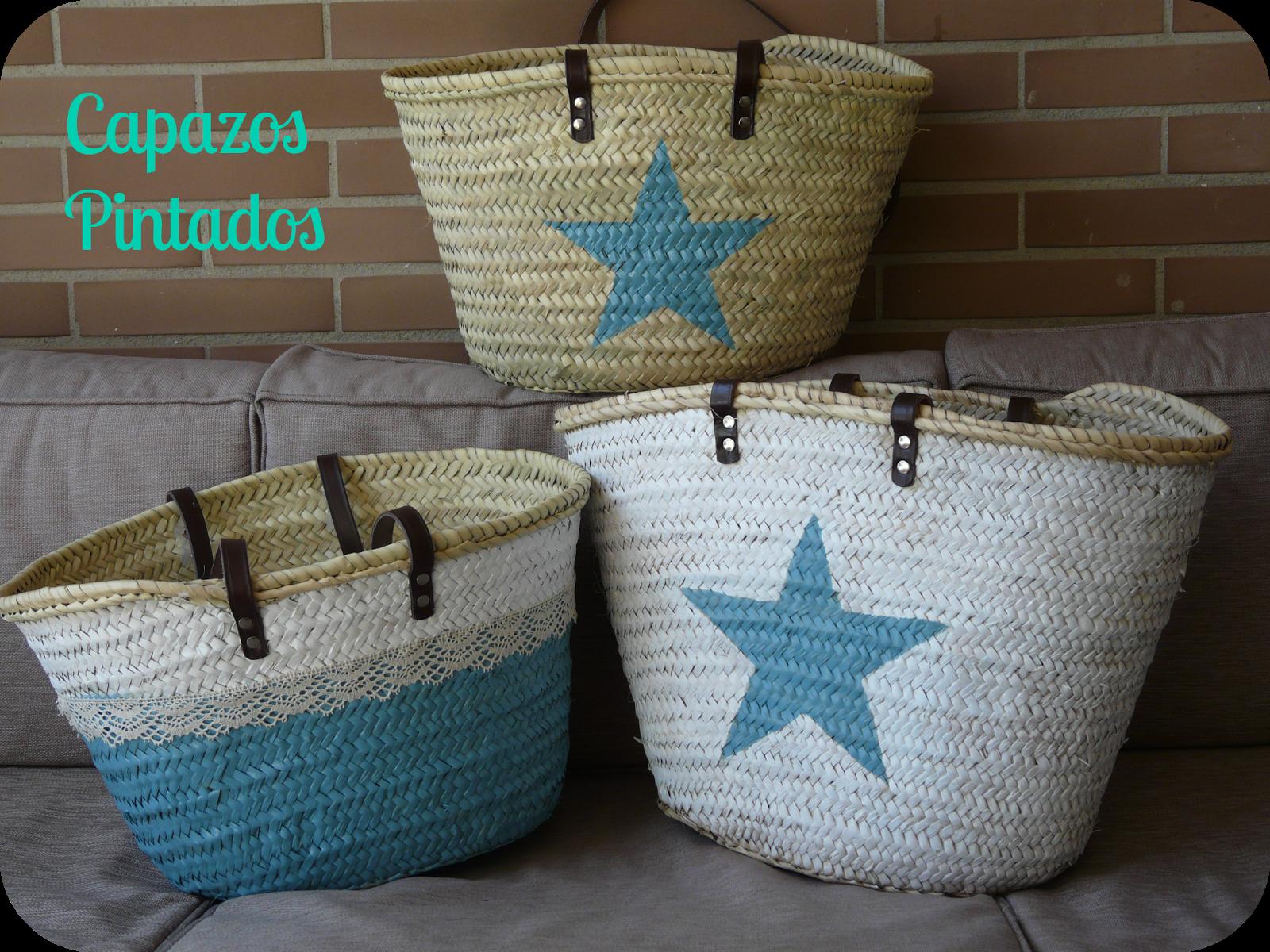 Capazos pintados capazos y cestas pinterest pintar los blancos y cestas - Capazo mimbre playa ...