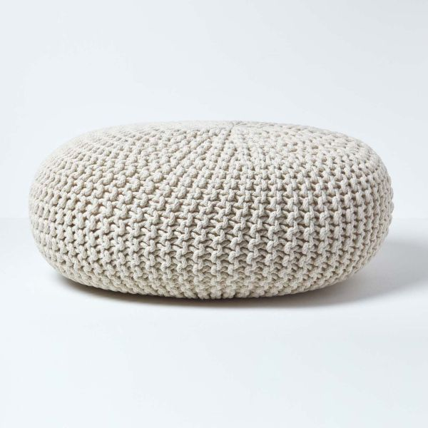 Natural Knitted Cotton Large Round Pouffe Footstool 70 X 23 Cm In 2020 Pouffe Knitted Pouffe Large Floor Cushions