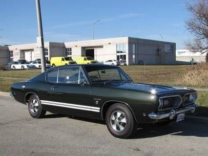 Barracuda Car Cool Muscle Car With Big Engine Dark Green