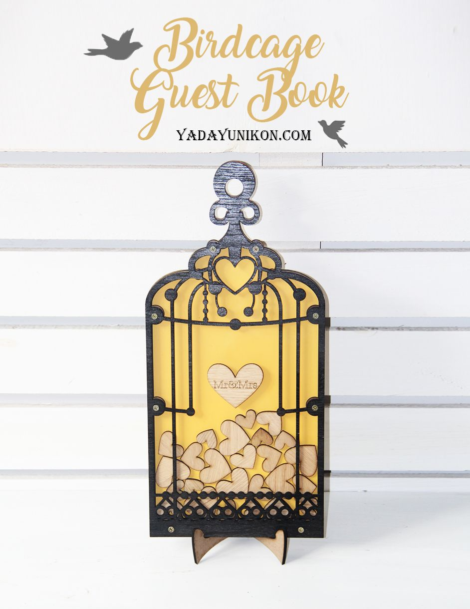 Yellow Birdcage-Black frame-Wood hearts – Drop Top Guest book ...