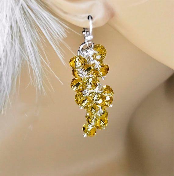 Crystal Waterfall Dangle Earrings, Light Topaz Swarovski Crystal, Yellow Marigold