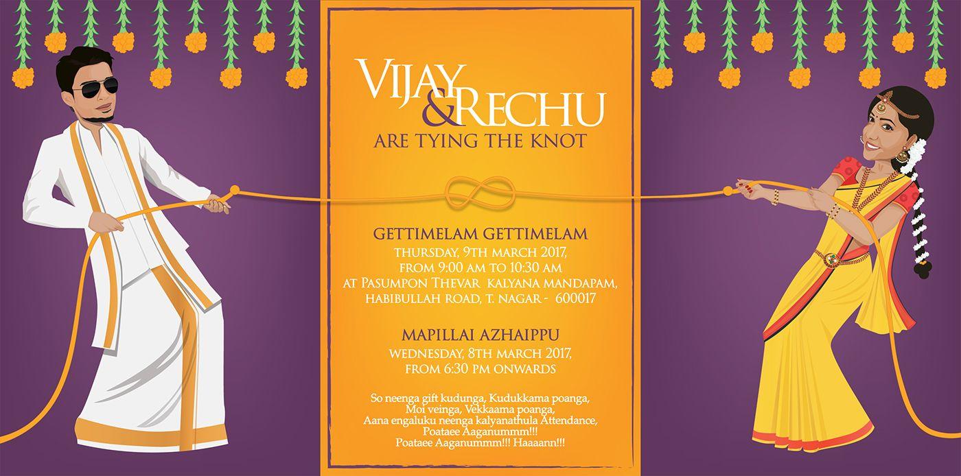 Invitation Designed For A Very Dear Friend Wedding Card Design Indian Wedding Card Wordings Cartoon Wedding Invitations