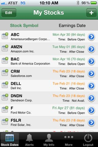 Stock Earnings iPhone and iPad app by CJD Creations  Genre