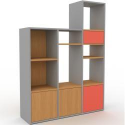Photo of Regalsystem Grau – Regalsystem: Schubladen in Rot & Türen in Eiche – Hochwertige Materialien – 118 x