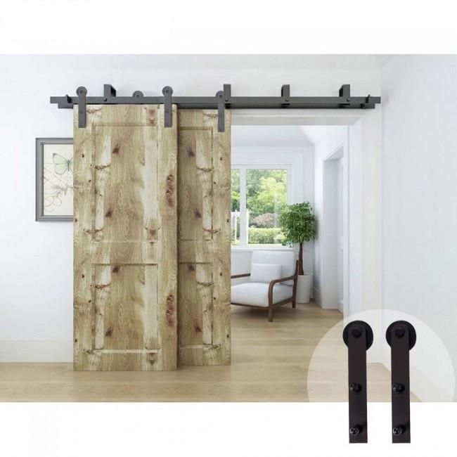 The Low Profile Bypass Barn Door Hardware Kit is designed to be used ...