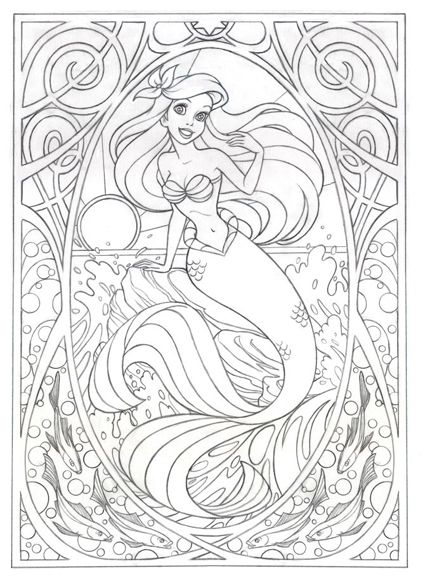 Coloring page for later!!!!!! Or this >>> Art Nouveau Ariel by ...
