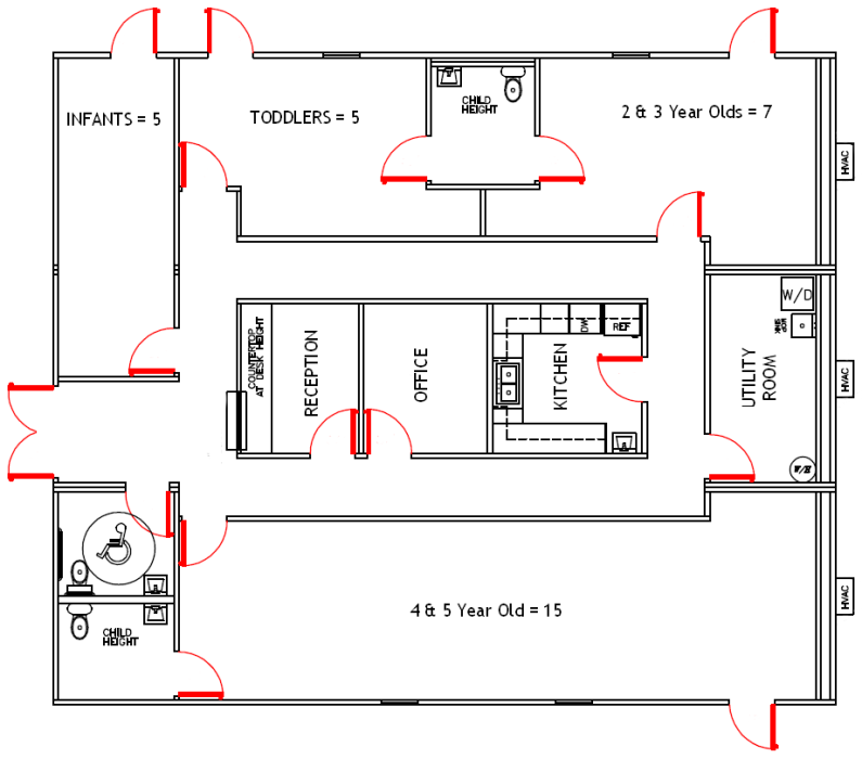 Daycare Facility Floorplan Day Care Floor Plans Preschool Blueprints Pinterest