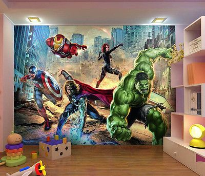 Wall mural photo wallpaper avengers heroes marvel for kids for Dormitorio super heroes