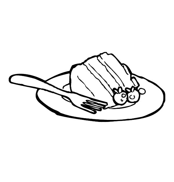 Cake Slice On Plate With Fork Coloring Pages Best Place To Color Coloring Pages Cake Slice Color
