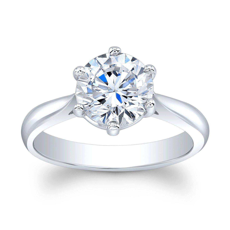 Ladies Platinum plain engagement ring solitaire with 2 ct