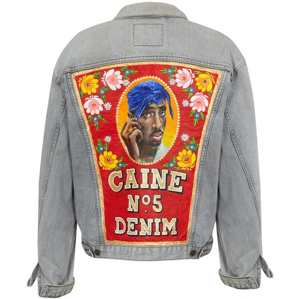 CAINE LONDON No. 5 DENIM JACKET (€1.775) ❤ liked on Polyvore featuring outerwear, jackets, coats & jackets, eleanor, denim jacket, vintage jackets, jean jacket, vintage jean jacket and vintage denim jacket