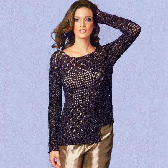 Asymmetric crochet tunic PATTERN, casual crochet tunic pattern, instructions in English for every row, sexy beach crochet tunic PDF pattern.