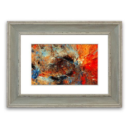 Ice And Fire Cornwall Abstract Framed Wall Art East Urban Home Size: 93 cm H x 126 cm W, Frame Options: Blue