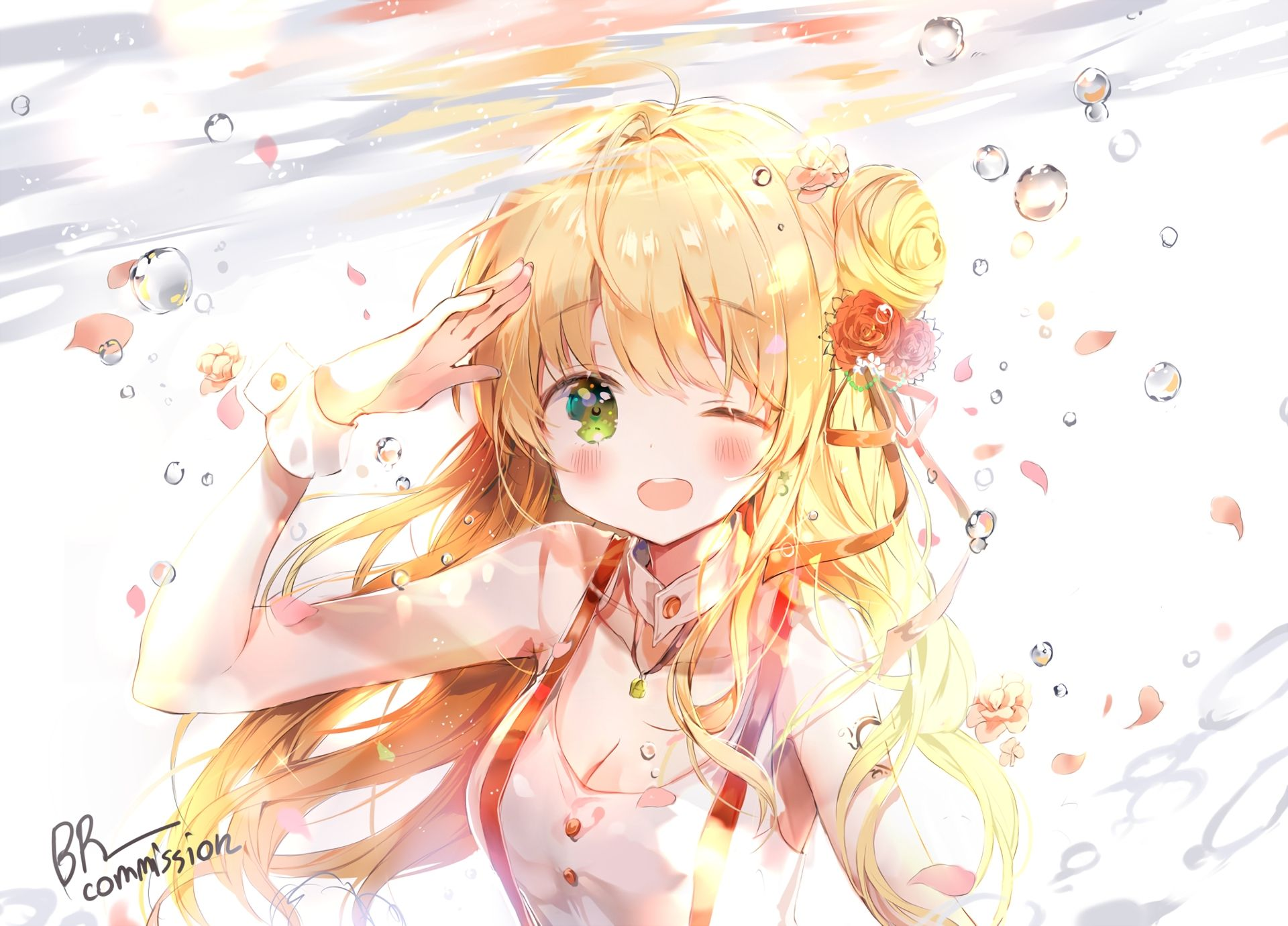 wink-blonde-anime-girl-beautiful | anime wallpaper | pinterest
