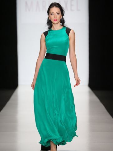 Flowy satin emerald dress with black accents