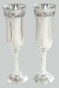 Irish Wedding Toasting Flutes Pewter Celtic Chanpagne Flute Set Gift Boxed 8