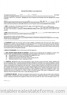 Free Standard Real Estate Lease Agreement Printable Real Estate