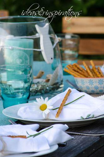 Decoration Dekoration Tisch Table Maritime Maritim Fisch Fish Turkis