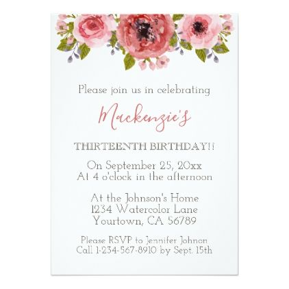 Watercolor flowers birthday party invitation birthday cards watercolor flowers birthday party card birthday cards invitations party diy personalize customize celebration filmwisefo
