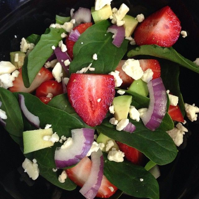 Strawberry Salad with Spinach, Avocado, Red Onion & Feta // TAylett: Food Photos ~Salad
