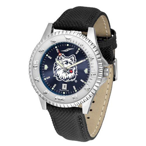 """Connecticut Huskies NCAA Anochrome """"Competitor"""" Mens Watch (Poly/Leather Band) by SunTime. $84.59. Rotating Bezel. Color Coordinated. Calendar Date Function. Showcase The Hottest Design In Watches Today! A Functional Rotating Bezel Is Color Coordinated To Highlight Your Favorite Team Logo. A Durable, Long Lasting Combination Nylon/Leather Strap, Together With A Calendar Date, Round Out This Best Selling Timepiece. The Anochrome dial option increases the visual impact with stun..."""