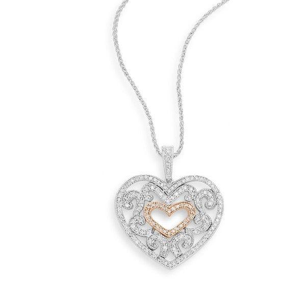 Effy diamond 14k white rose gold heart pendant necklace 25965 effy diamond 14k white rose gold heart pendant necklace 25965 mxn aloadofball Choice Image