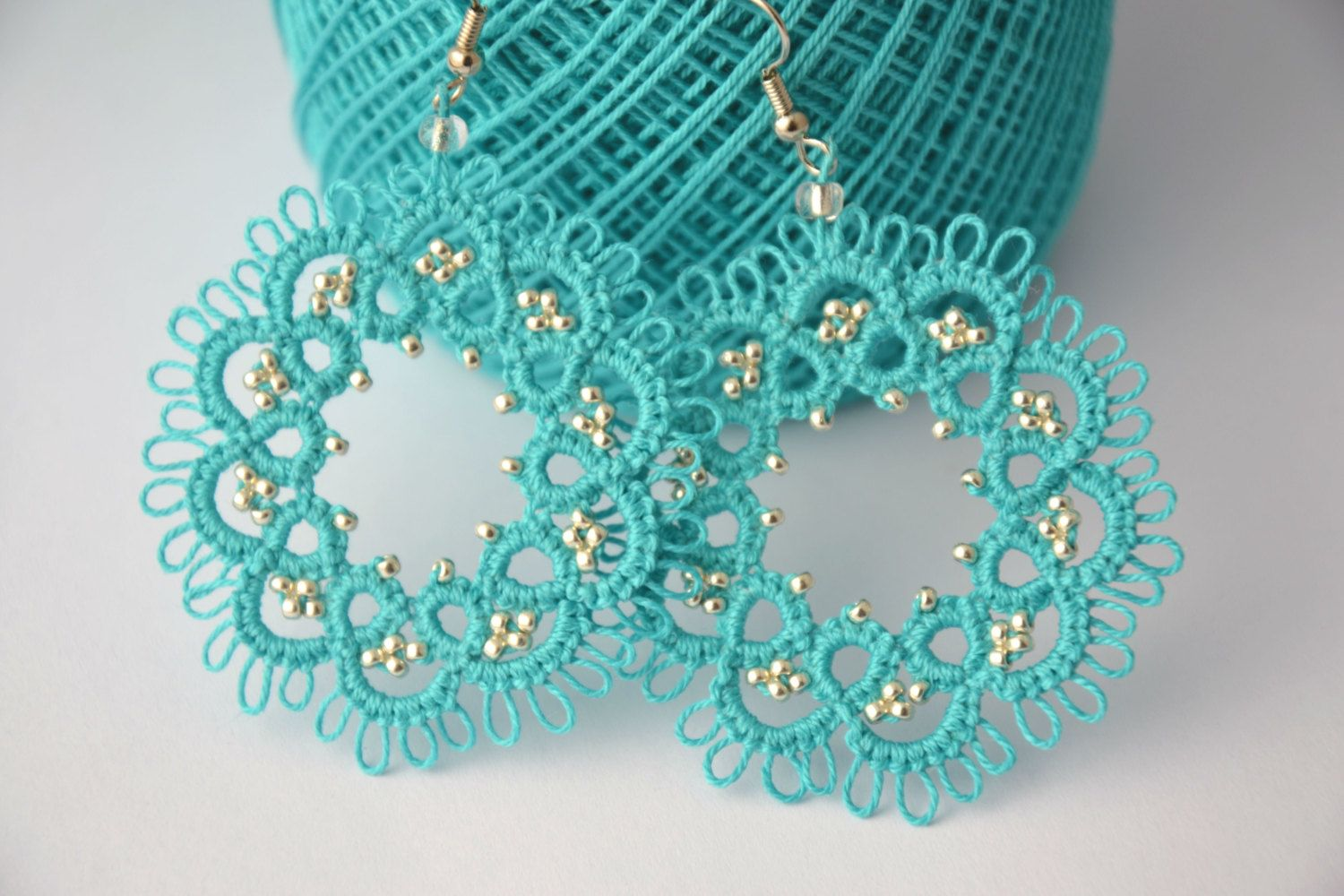 Tatting lace earrings turquoise and sterling silver beads, lace ...