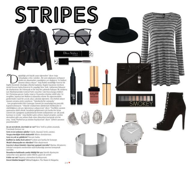 """""""Untitled #47"""" by anna-cham ❤ liked on Polyvore featuring River Island, Zizzi, Yves Saint Laurent, Maison Michel, Balmain, Christian Dior, Forever 21 and Larsson & Jennings"""